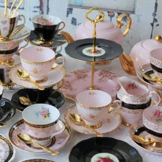 Vintage Chic Pink & Black Tea Sets
