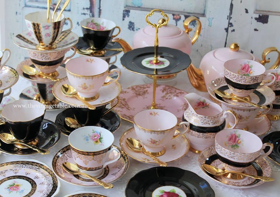 Vintage Chic Pink & Black Tea Sets