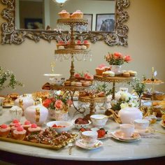 Pink & Gold Bridal Shower High Tea with our gold cake stands and trays
