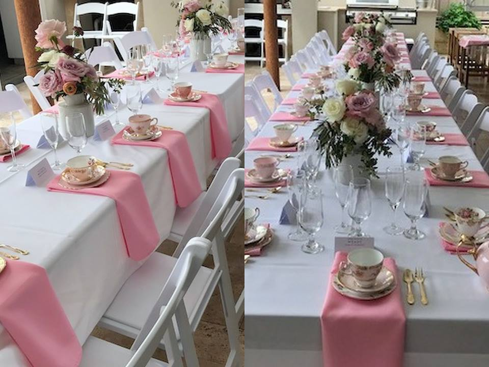 pink gold luxury high tea bridal shower