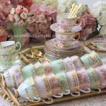Pink & Green Tea Sets, Gold Cutlery & Trays
