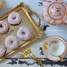 Pink & Gold Luxury High Tea & Ornate Gold Mirrored Tray