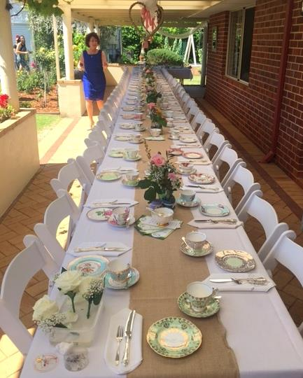 A garden party high tea themed wedding for 60 guests at a private property in Margaret River.