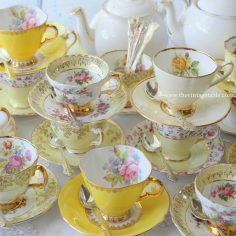 Vintage Yellow Tea Set Trios