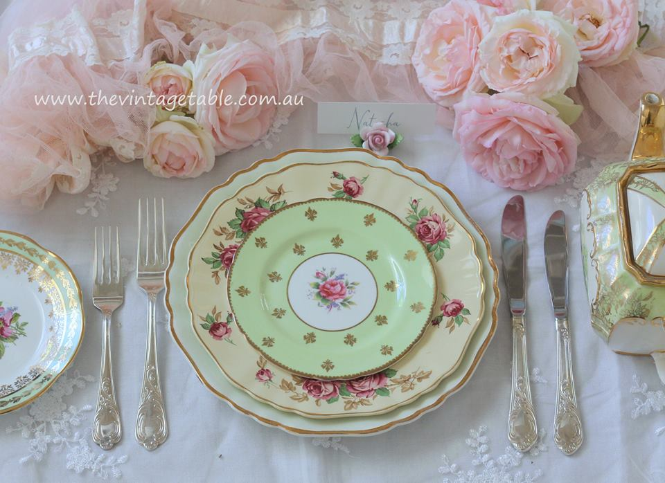 Botanical Collection   Dinner Place Setting with Silver Cutlery