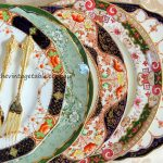Vintage Dinner Plates from the Heirloom Collection & Gold Cutlery