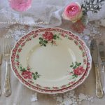Botanical Collection Vintage Dinner & Entree Plates with Vintage Silver Cutlery