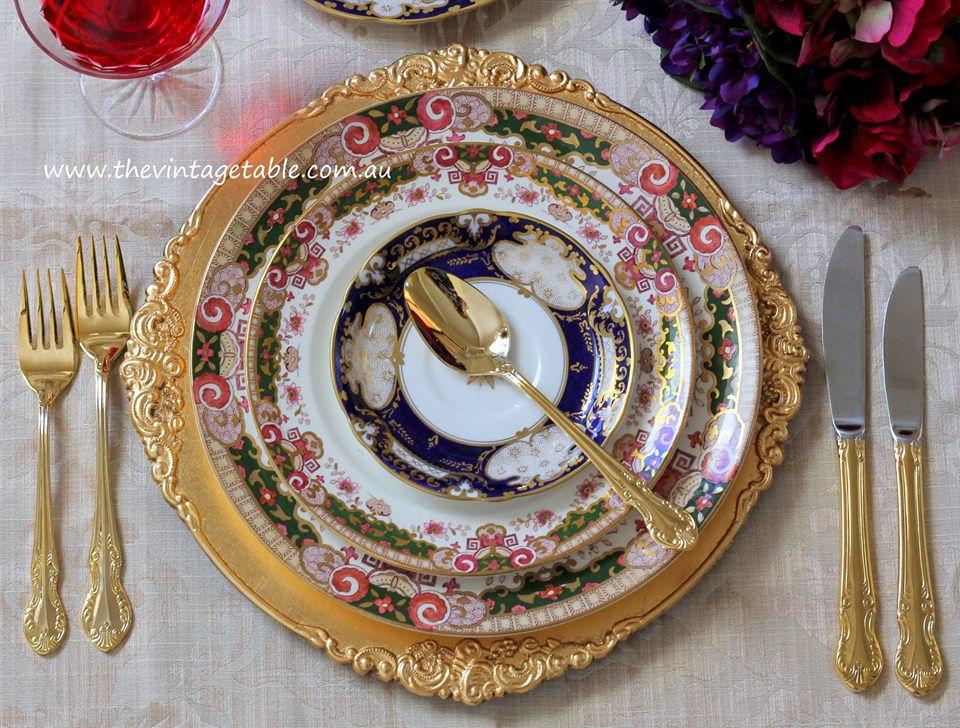 Heirloon Collection Vintage | Gold Charger u0026 Cutlery & Vintage Dinner Plate Hire | The Vintage Table Perth