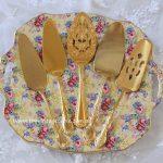 Vintage Gold Plated Cake Servers