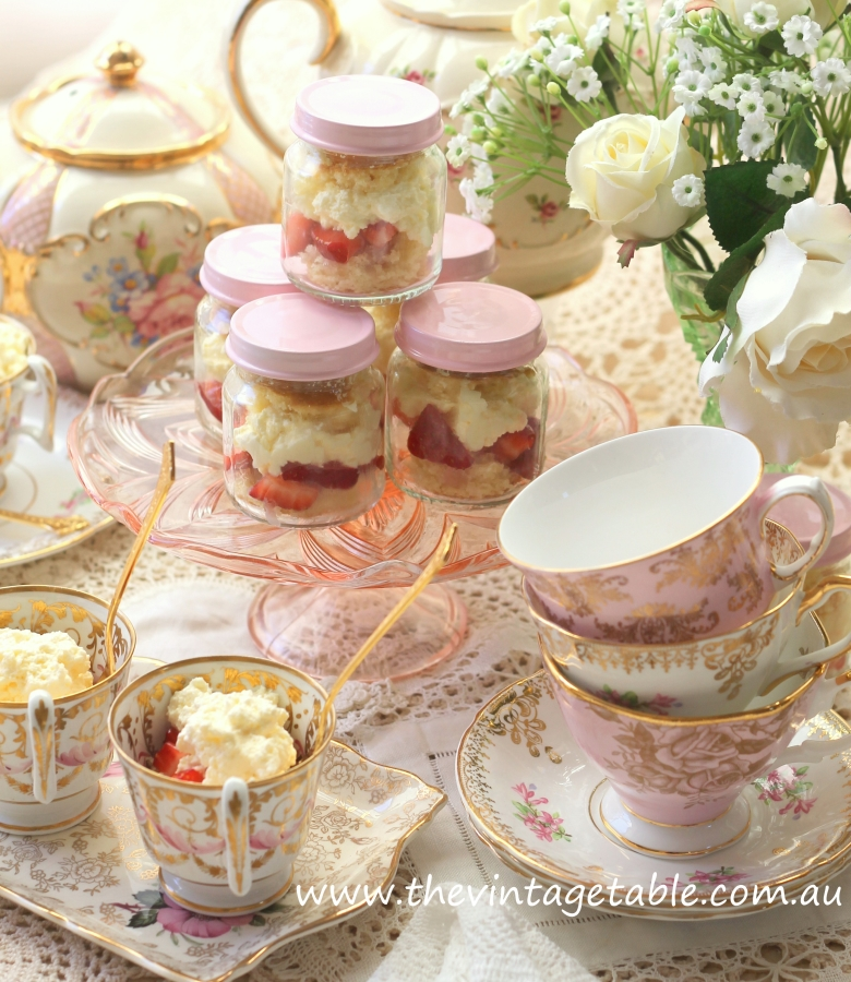 Strawberry Shortcake in Tea Cups
