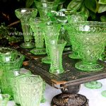 Vintage Green Glass Vases & Cast Iron Industrial | French Country Pedestal Cake Stands