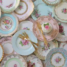 Vintage Fine Bone China Cake | Sandwich Plates with ornate vintage gold cake forks