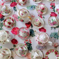 Vintage floral tea cup sets and teapots