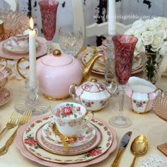 Pink & Gold! Dinner, dessert plates, tea sets, teapots, crystal candlesticks and champagne flutes