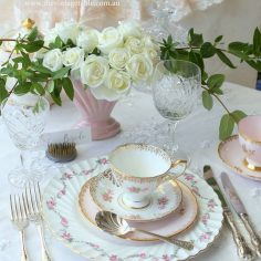 Vintage Dinner Plate, silver cutlery and tea set