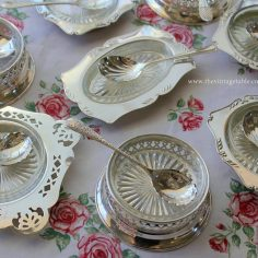 Vintage Silver Butter, Jam or Condiments dish with glass liner and ornate serving spoon