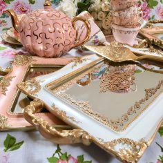 Gold Mirror Trays Pink Qty 2, White Qty 2, $15 ea