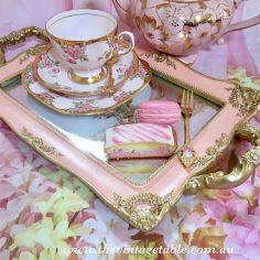 Gold Mirror Tray Pink